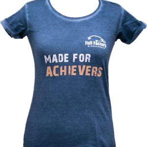 "Full Factory Ladies Blue Crush ""Made for Achievers"" Cotton T-Shirt - Front"