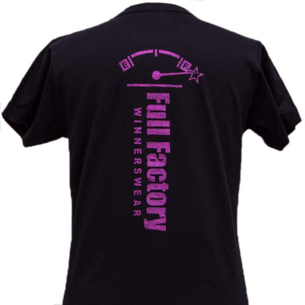 Full Factory Ladies Black with Purple Glitter Logo Cotton T-Shirt - Back