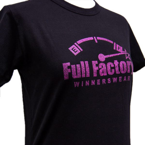 Full Factory Ladies Black with Purple Glitter Logo Cotton T-Shirt - Front Side
