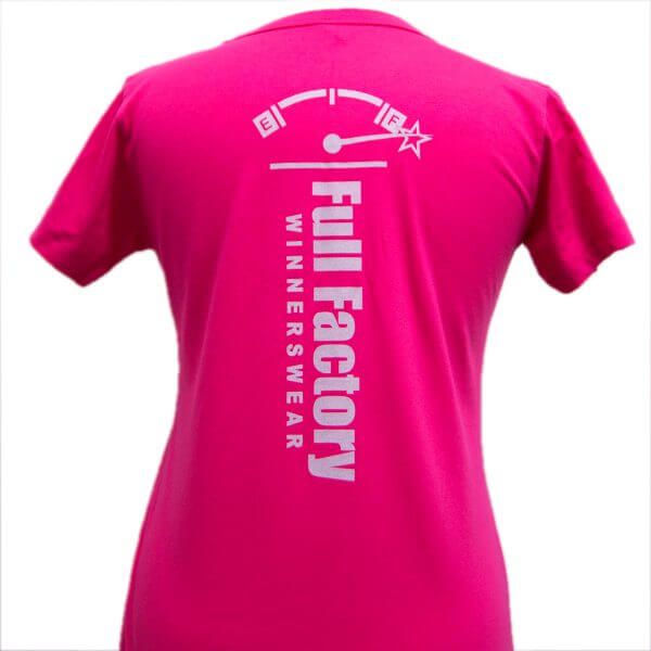 Full Factory Ladies Pink with Silver Logo Cotton T-Shirt - Back