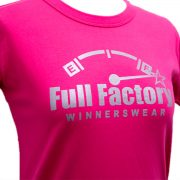 Full Factory Ladies Pink with Silver Logo Cotton T-Shirt - Front Side