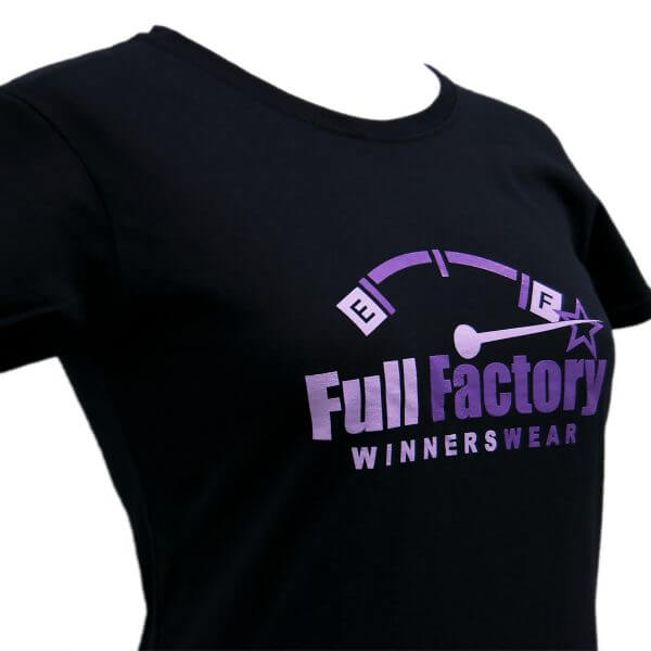 Full Factory Ladies Black with Two Tone Purple Logo Cotton T-Shirt - Front Side