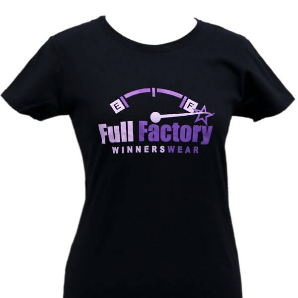 Full Factory Ladies Black with Two Tone Purple Logo Cotton T-Shirt - Front