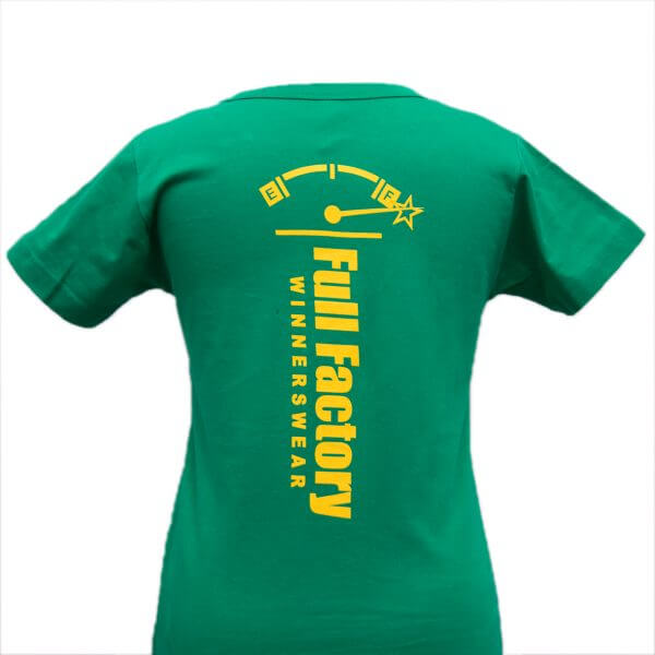 Full Factory Ladies Green with Yellow Logo Cotton T-Shirt - Back