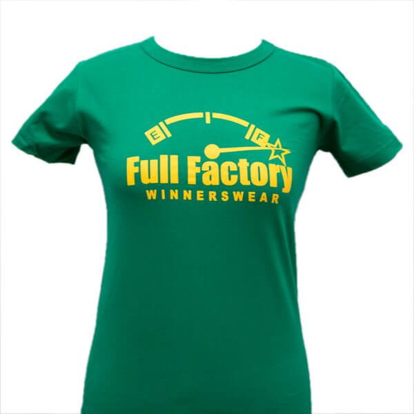 Full Factory Ladies Green with Yellow Logo Cotton T-Shirt - Front