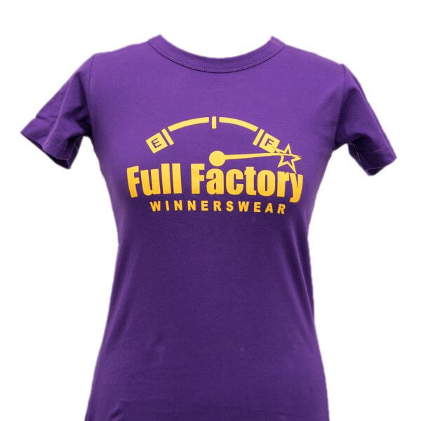 Full Factory Ladies Purple with Yellow Logo Cotton T-Shirt - Front