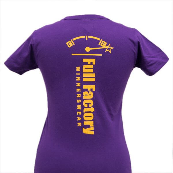 Full Factory Ladies Purple with Yellow Logo Cotton T-Shirt - Back