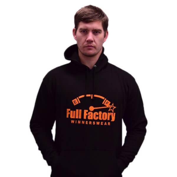 Full Factory Mens Black Hoodie with Orange Logo - Akkie Van Den Berg