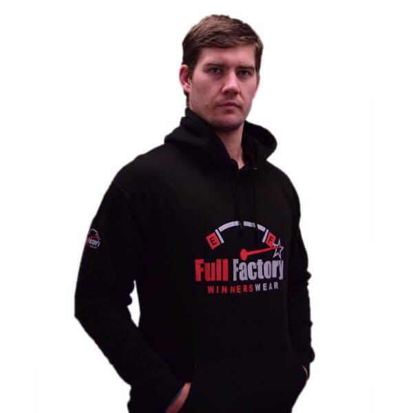Full Factory Mens Black Hoodie with Red & Silver Logo - Front - Akkie Van Den Berg