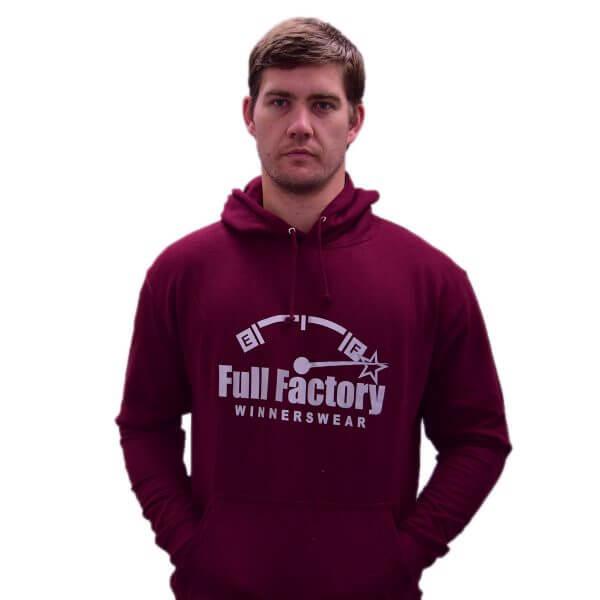 Full Factory Mens Burgundy Hoodie with Silver Logo - Akkie Van Den Berg