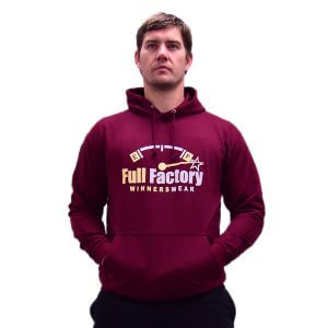Full Factory Mens Burgundy Hoodie with Two Tone Logo - Front - Akkie Van Den Berg