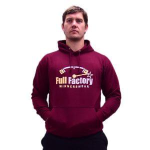 Full Factory Mens Burgundy Hoodie with Two Tone Logo - Front - Akkie Van Den Berg