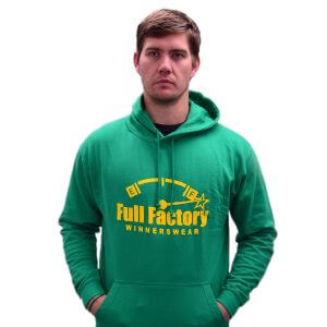 Full Factory Mens Green Hoodie with Yellow Logo - Akkie Van Den Berg