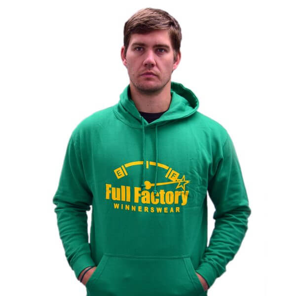 Full Factory Mens Green Hoodie with Yellow Logo - Akkie Van Den Berg