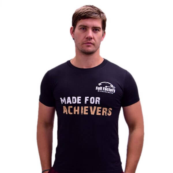 "Full Factory Mens Blue Crush ""Made for Achievers"" Cotton T-Shirt - Front - Akkie Van Den Berg"