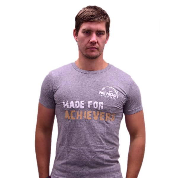 "Full Factory Mens Grey ""Made for Achievers"" Cotton T-Shirt - Front - Akkie Van Den Berg"