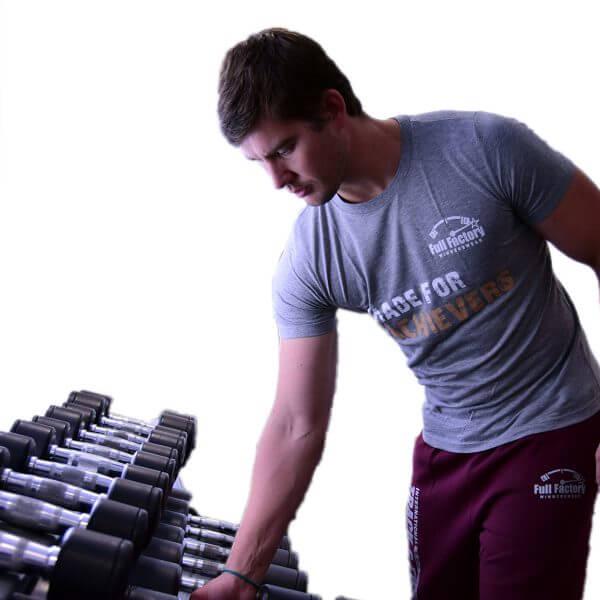 "Full Factory Mens Grey ""Made for Achievers"" Cotton T-Shirt - Akkie Van Den Berg"