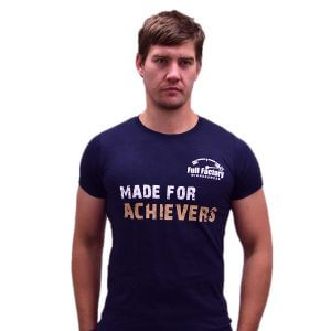 "Full Factory Mens Grey ""Made for Achievers"" Cotton T-Shirt - Akkie Van Den Berg"