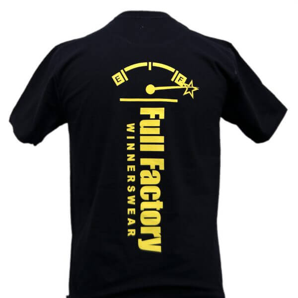 Full Factory Mens Black with Yellow Logo Cotton T-Shirt - Back