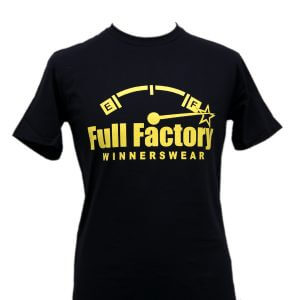 Full Factory Mens Black with Yellow Logo Cotton T-Shirt - Front