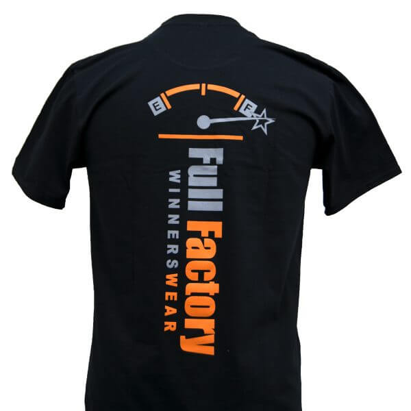 Full Factory Mens Black with Grey & Orange Logo Cotton T-Shirt - Back