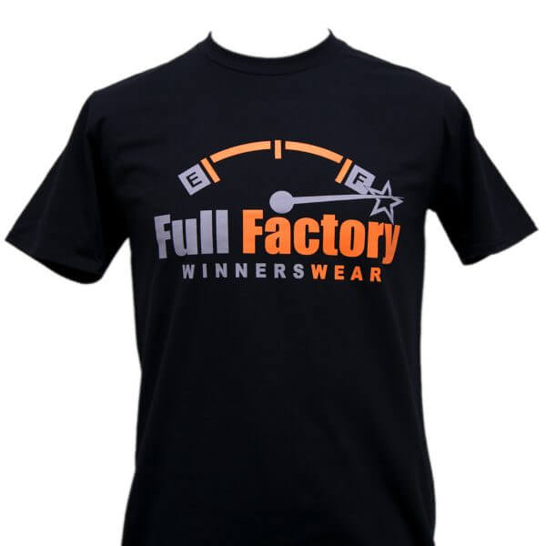 Full Factory Mens Black with Grey & Orange Logo Cotton T-Shirt - Front