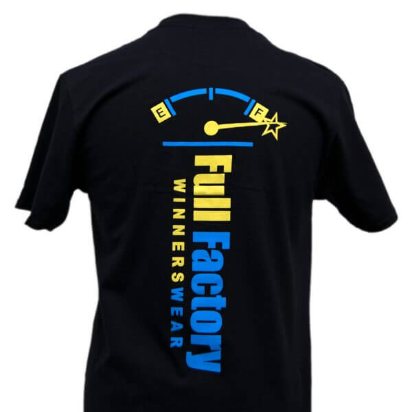 Full Factory Mens Black with Yellow & Blue Logo Cotton T-Shirt - Back