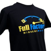 Full Factory Mens Black with Yellow & Blue Logo Cotton T-Shirt - Front Side