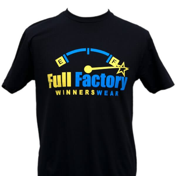 Full Factory Mens Black with Yellow & Blue Logo Cotton T-Shirt - Front