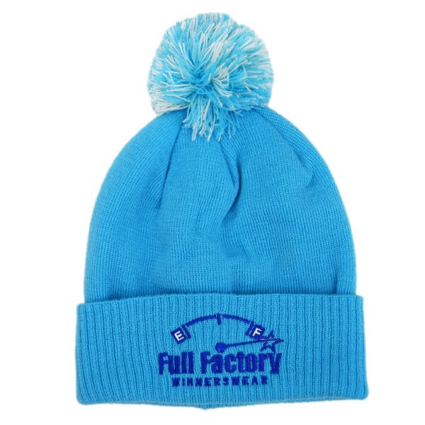 Full Factory Baby Blue Bobble Hat